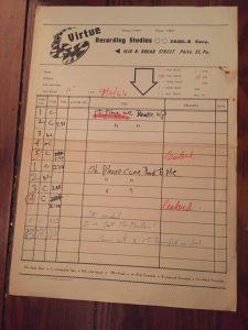 Original Master tape Notes page